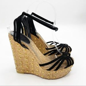 GUCCI Cecyl Black Spike Stud Wedge Sandals Heels